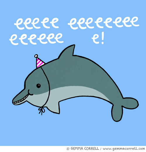 С днем рождения картинка с дельфином